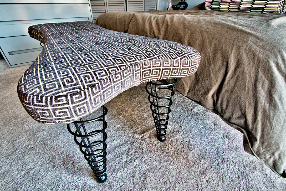 Buy Upholstered Benches From Spiral Cone Legs