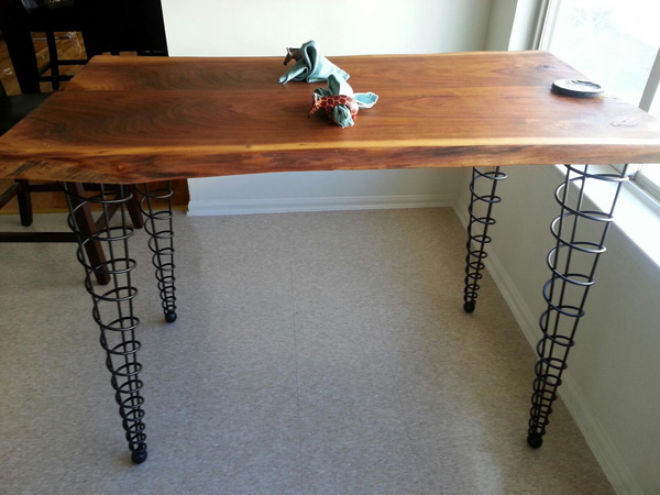 Customer Built Table Top With Dining Height Spiral Cone Legs