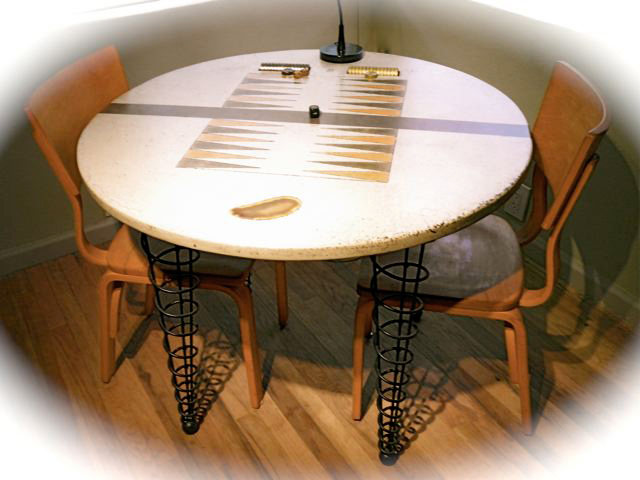 Customer Built Concrete Backgammon Table With Our 29 1/4 Inch Dining/desk