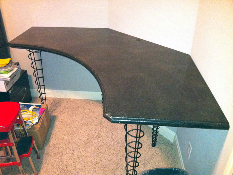 Customer Built Concrete Home Office Desk With Our 29 1/4 Inch Dining/